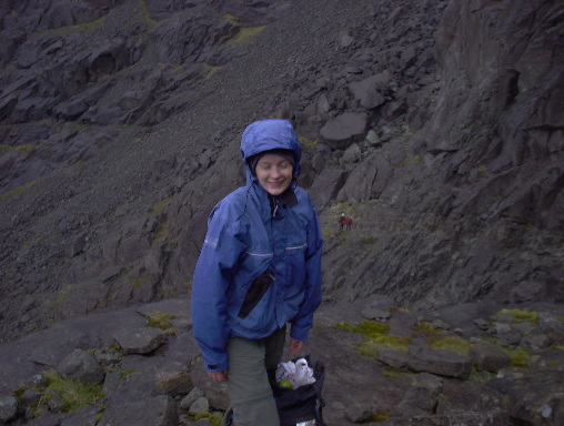 Gail below the Cioch
